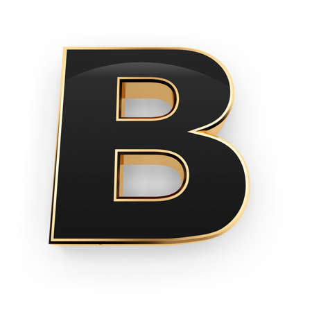 Golden whith black letter B isolated on white background photo
