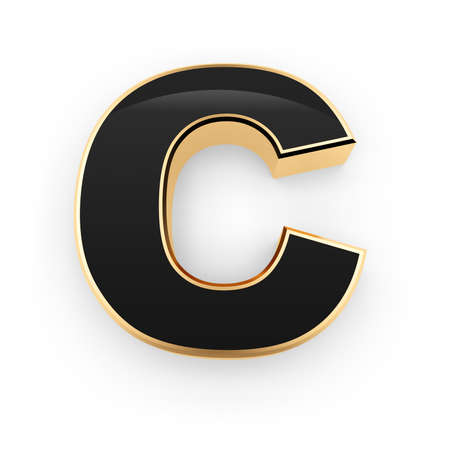 Golden whith black letter C isolated on white background Stock Photo