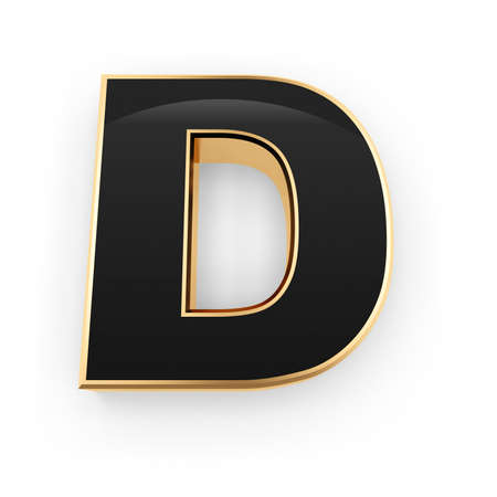 Golden whith black letter D isolated on white background photo