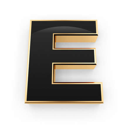 Golden whith black letter E isolated on white background photo