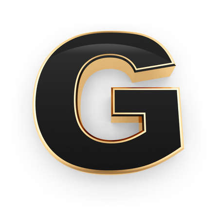 Golden whith black letter G isolated on white background photo