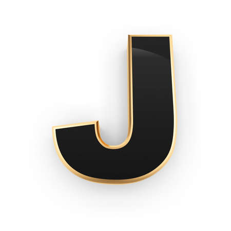Golden whith black letter J isolated on white background photo