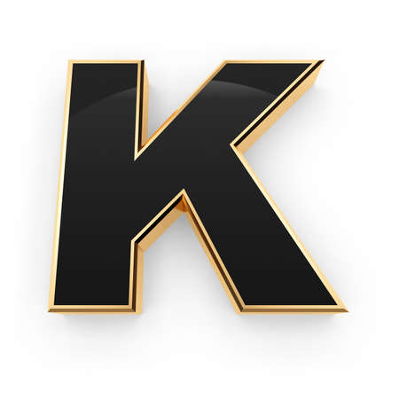Golden whith black letter K isolated on white background photo