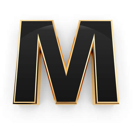 Golden whith black letter M isolated on white background photo