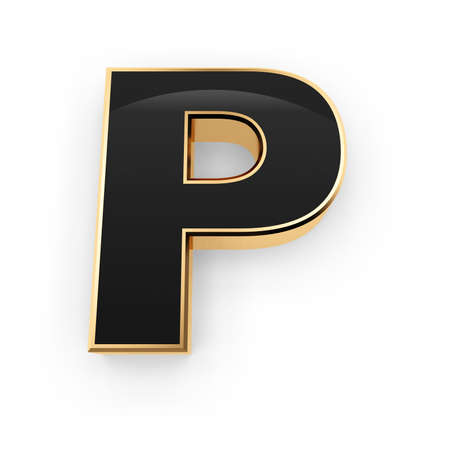 Golden whith black letter P isolated on white background photo