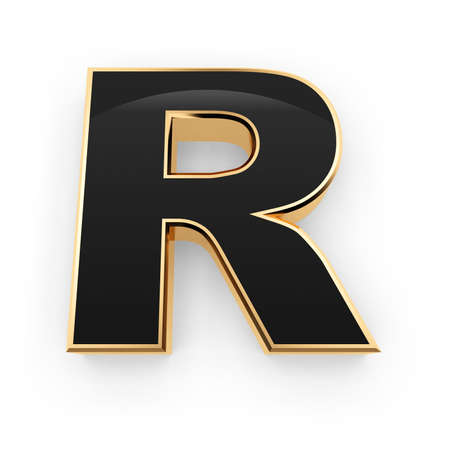 Golden whith black letter R isolated on white background photo