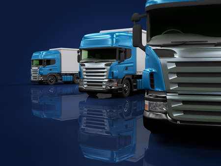 Some blue trucks on blue background Stock Photo