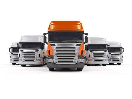 camion: Algunos blancos camiones y un cami�n de l�der rojo aislados en blanco