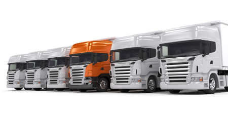 ciężarówka: Niektóre biaÅ'e ciężarówek i jeden wózek lidera czerwonych samodzielnie na biaÅ'ym tle