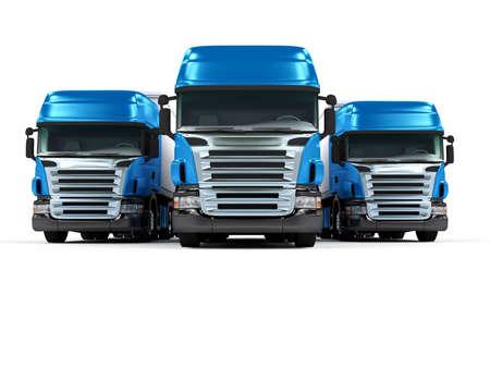 lorry: Alcuni camion blu isolato su sfondo bianco Archivio Fotografico