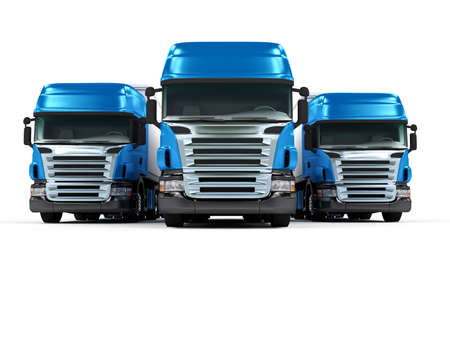 Some blue trucks isolated on white background