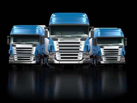 lorry: Alcuni camion blu isolato su sfondo nero