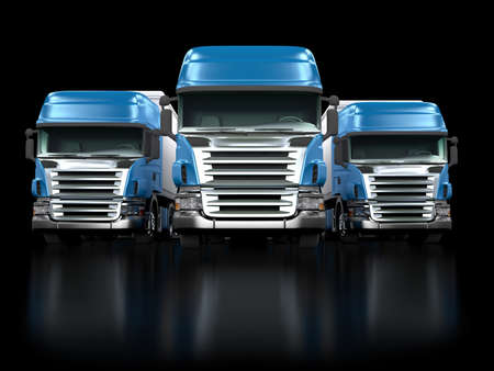 Some blue trucks isolated on black background