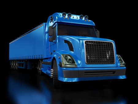 Heavy blue truck isolated on black background Stock Photo
