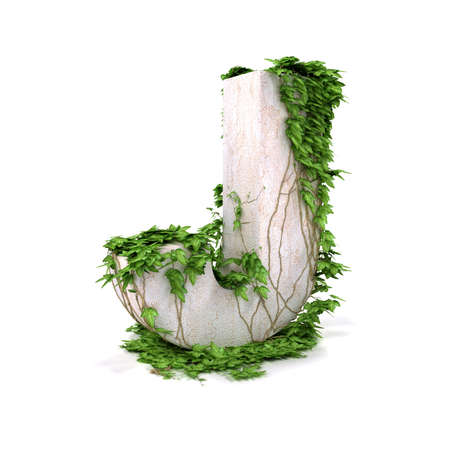 Letter J threads covered with ivy isolated on white background. Stock Photo