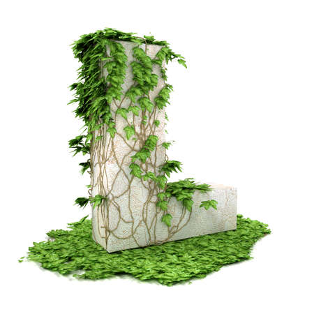 Letter L threads covered with ivy isolated on white background. Stock Photo