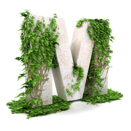 Letter M threads covered with ivy isolated on white background.