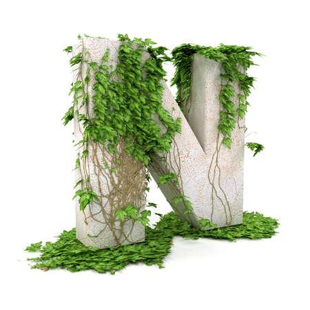 ivies: N fili lettera ricoperta di edera isolato su sfondo bianco.