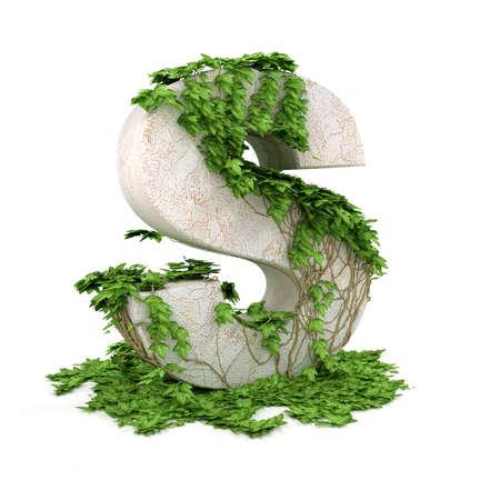 ivies: Discussioni s lettera ricoperta di edera isolato su sfondo bianco. Archivio Fotografico