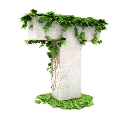 Letter T threads covered with ivy isolated on white background.