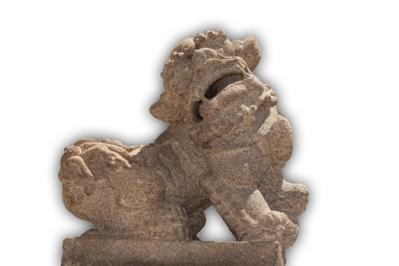 Stone lions that have a white background photo