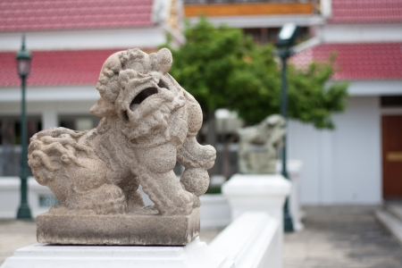 China s traditional lion along the Thai temple  Stock Photo - 14307712