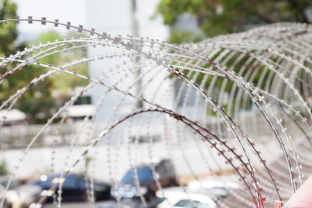 Barbed wire being used for prevent Stock Photo