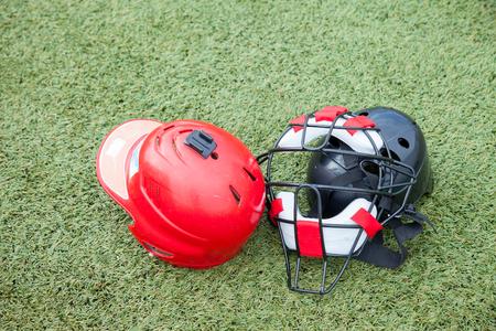 mitt: Softball equipment sports on grass field