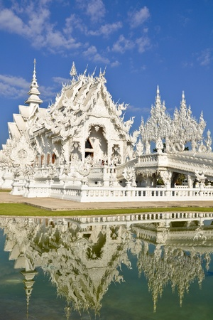 Famous white church in Wat Rong Khun, Chiang Rai province, northern Thailand  photo