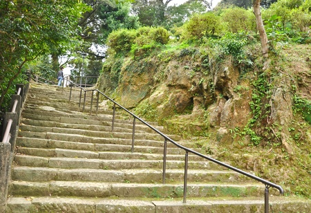 Stone staire up to the hill at Isahaya, Japan Stock Photo - 9913188