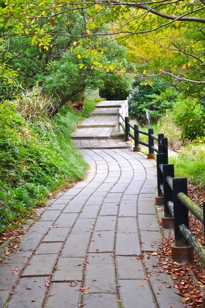 Walkway in at Unzen mountain at Obama, Japan photo