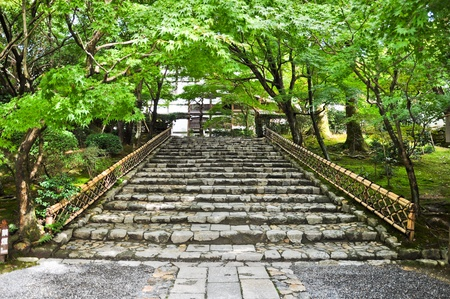 Stairs at Ryoanji Temple at Kyoto, Japan Stock Photo