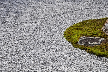 Stone Garden with Zens stype at Ryoanji Temple in Kyoto Japan Stock Photo