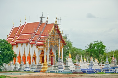 Underconstruction of Thai Church with Traditional graveyard