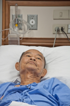 Elderly patien in hospital Stock Photo