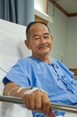 recovering: Elderly patien in hospital Stock Photo