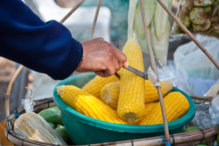 Merchant pinch Boiled corn at Border of Thailand-Laos Stock Photo - 14391488
