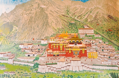 View painting at Ramtek Monastery in Gungtok, Sikkim, India