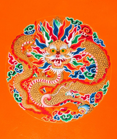 Dragon painting at Ramtek Monastery in Gungtok, Sikkim, India