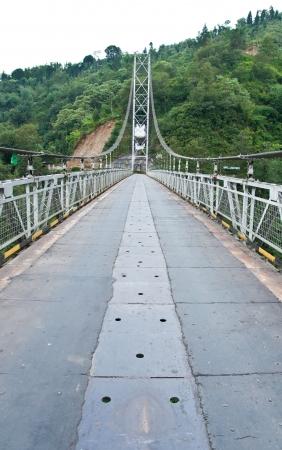 Rope bridge in Pelling, Sikkim, India photo