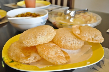 Delicious Homemade Bhature - Indian food Stock Photo