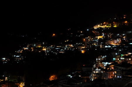 Night light from houses on the mountain in Gungtok, India