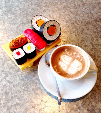 The coffee art with model of sushi Japanese food