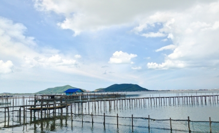 The wooden bridge to the fishery in the sea at Yor Island in Songkhla, Thailand photo