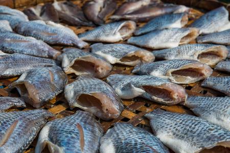 mango fish: The dried Nile tilapia or Mango fish or Nilotica fish or Oreochromis niloticus fish as Thai style preserve food