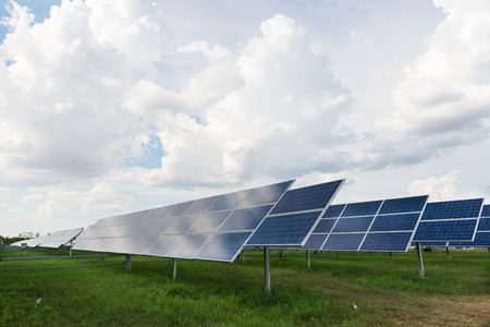 The solar farm for green energy in the field in Thailand photo