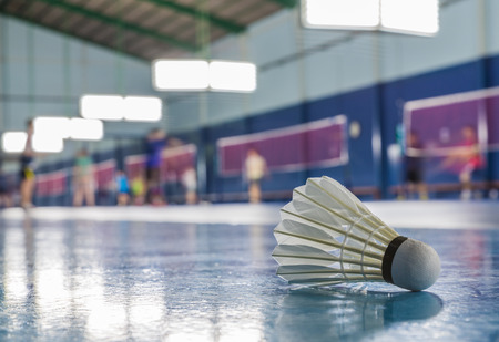 A shuttlecock on the ground in the indoor Badminton court