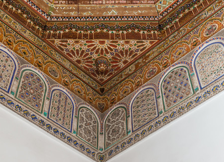 craft on marble: The marble craft and wooden painting of ceiling at Bahia Palace in Marrakesh