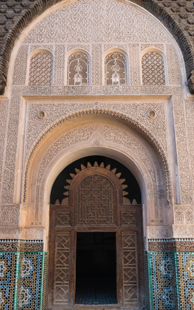 craft on marble: The marble craft of building at Medersa Ben Youssef in Marrakesh