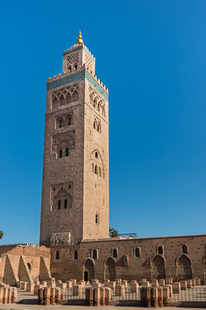 The Koutoubia Mosque with blue sky at Marrakesh